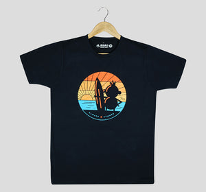 Bira 91 Sunset Surfing Graphic T-shirt - Navy Blue