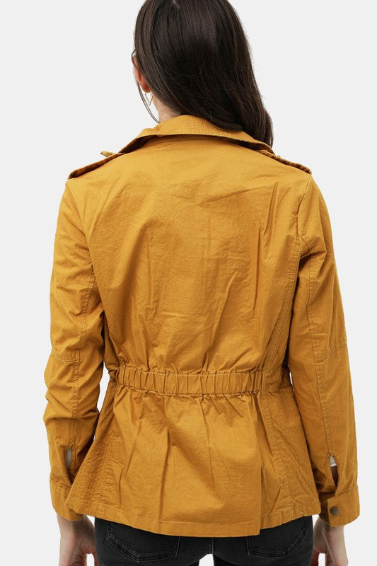 Long Sleeves Utility Anorak Zip Up Military Jacket