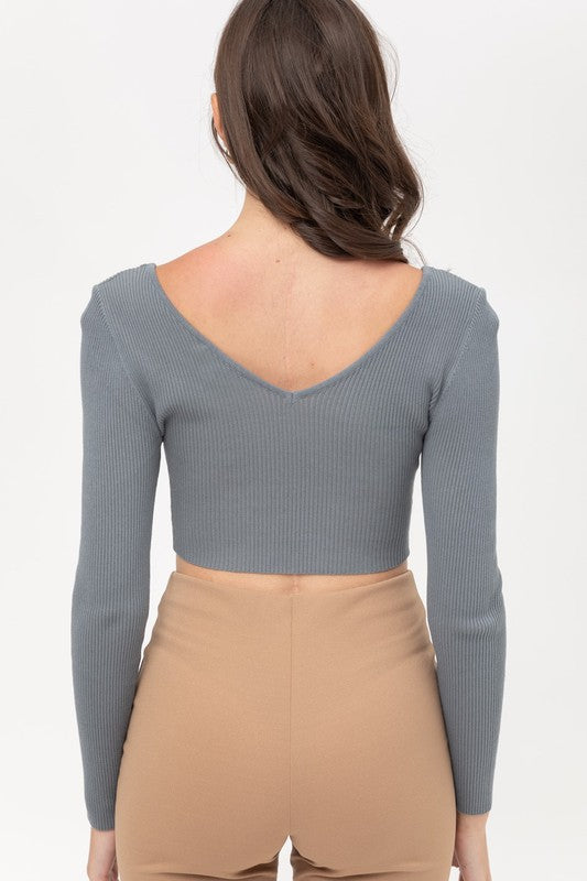 V NECK LONG SLEEBE RIB CROP TOP