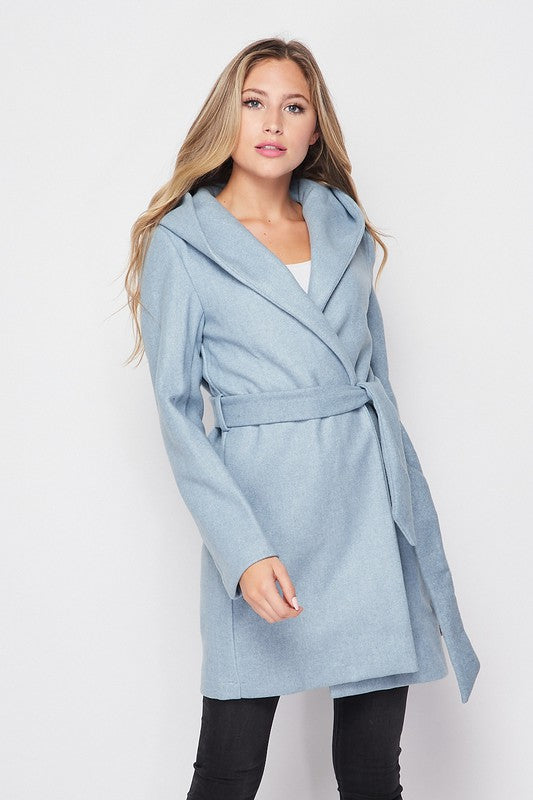 Hooded Waist Belted Midi Length Coat