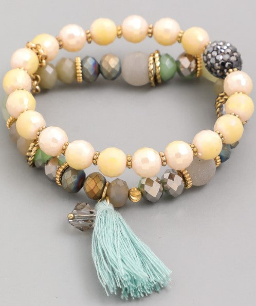 Faceted Bead Tassel Bracelet