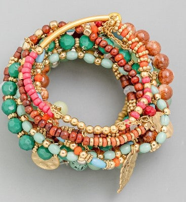 Multi Color Layered Bead Bracelet