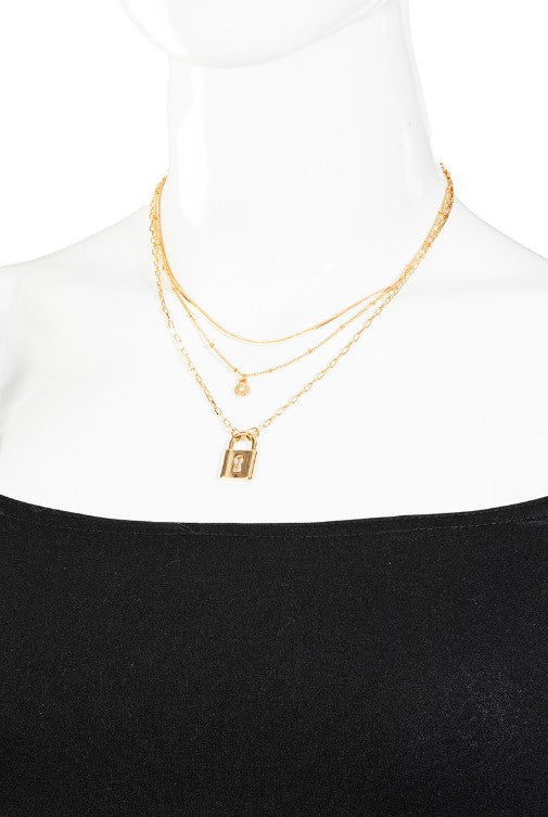 Layered Lock Pendant Necklace