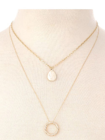 Circle Charm Layered Necklace