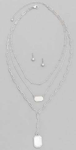 Matte Layered Chain Necklace Set