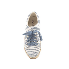 Navy White Lace Up Jute Sneaker