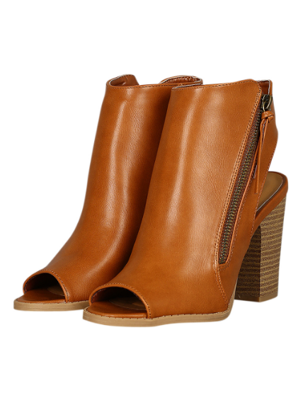 BARTLETT CAMEL PEEP-TOE ANKLE BOOTIES