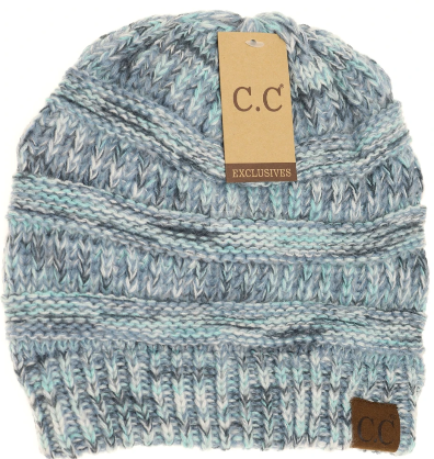 Beanie-Multi Color Diagonal Stitch
