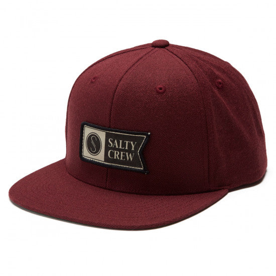 Salty Crew Alpha Stamped 6 Panel Cap (Burgundy)
