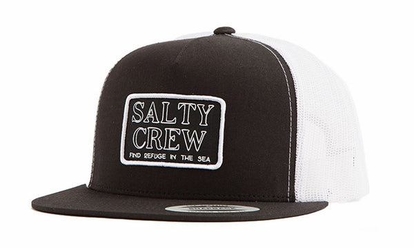 Salty Crew Stacked Trucker Cap (Black / White)
