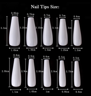 XL coffin  full cover nails tips