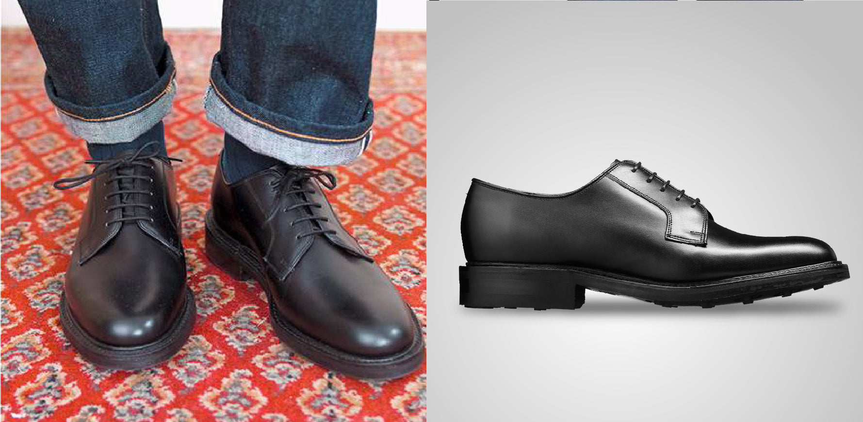 Nairn - Black Leather Derby Shoes By Barker