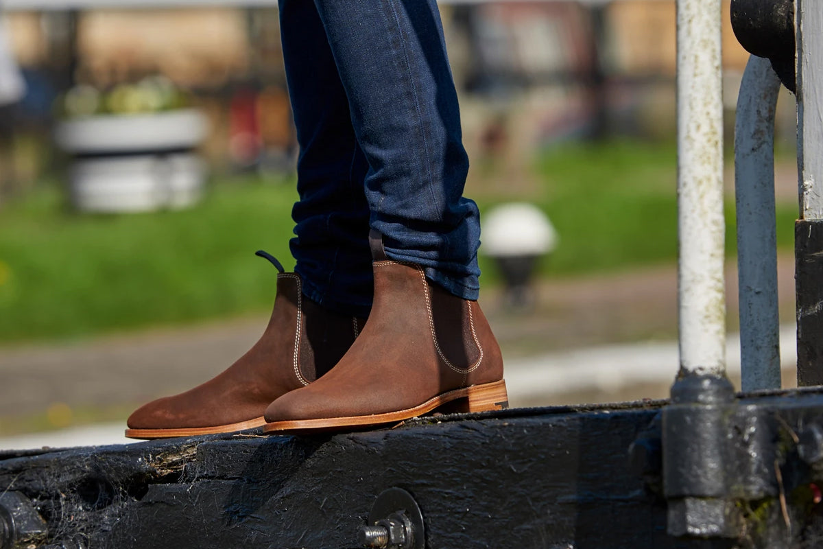 Mansfield - Men's Suede Brown Chelsea Boot By Barker