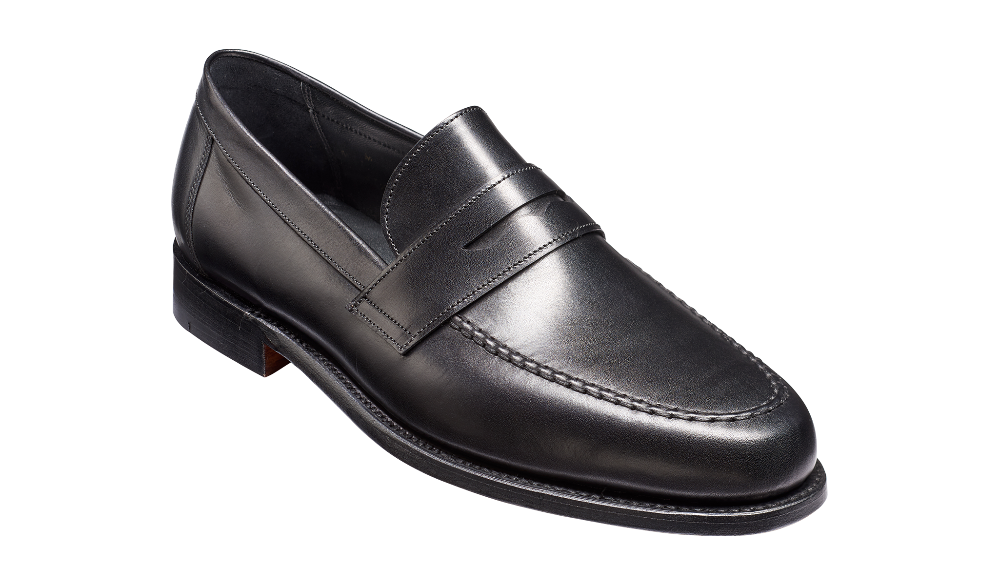Jevington - A men's black handmade leather loafers by Barker Shoes.