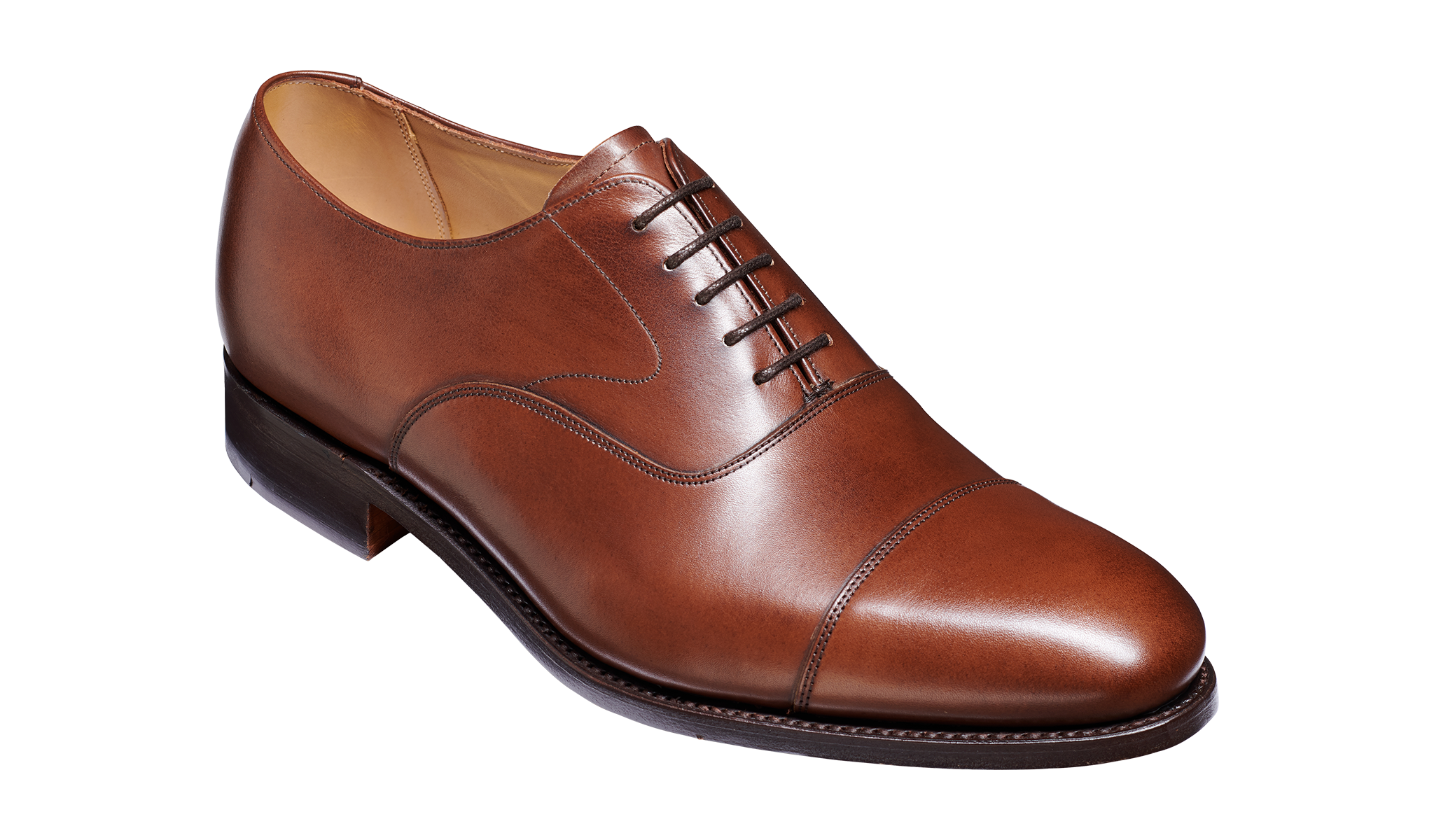 Malvern - Man's Handmade Brown Leather Oxford Shoes From Barker