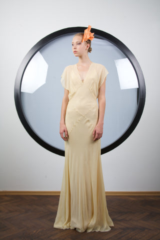 Light yellow silk dress by Riina Poldroos
