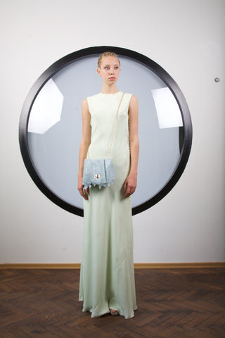 Hint of light green silk dress by Riina Poldroos