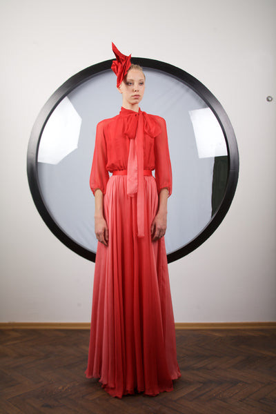 Crimson red silk dress by RIina Poldroos