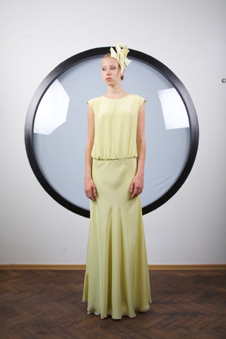 Maize yellow low waist silk maxi dress by Riina Poldroos