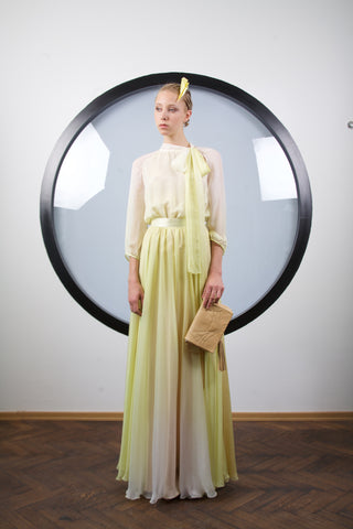 Light yellow ombre silk maxi dress by Riina Poldroos