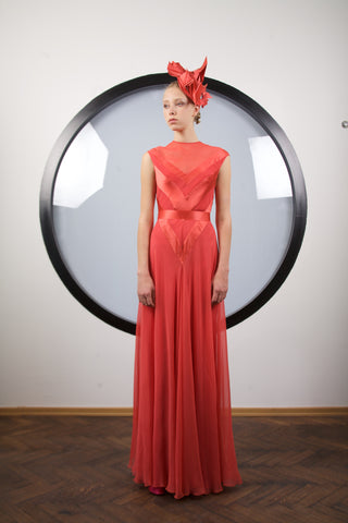 Scarlet silk maxi dress by Riina Poldroos