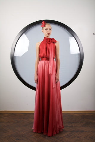 Rose red ombre silk maxi dress by Riina Poldroos
