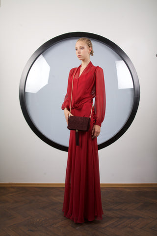 Dark red silk maxi dress by Riina Poldroos