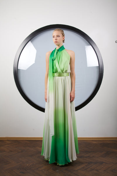 Emerald silk maxi dress by Riina Poldroos