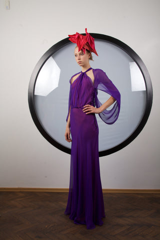 Purple silk maxi dress by Riina Poldroos