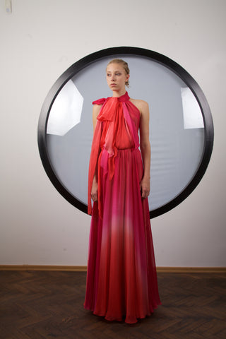 Ombre red to fuchsia maxi dress by RIina Poldroos