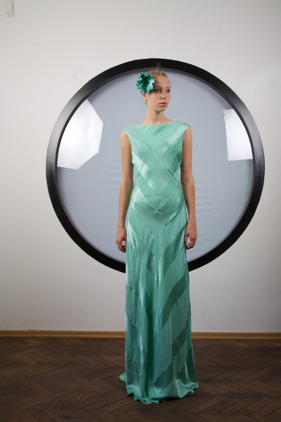 Turquoise silk maxi dress by Riina Poldroos