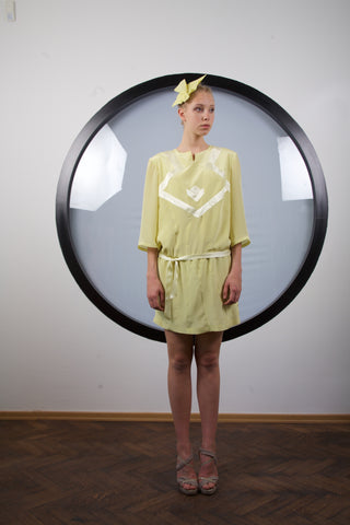 Mustard silk mini dress by Riina Poldroos