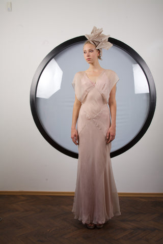 Powder beige silk maxi dress by Riina Poldroos