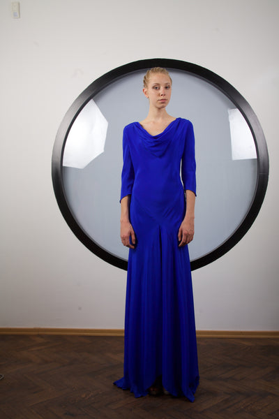 Indigo silk dress by Riina Poldroos