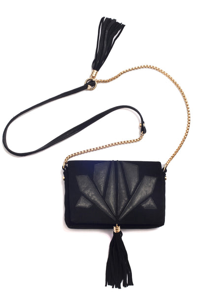 Little Bag of Joy, black on suede by Riina Põldroos