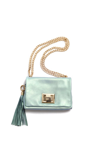 Little Box of Joy, metallic blue bag, by Riina Põldroos