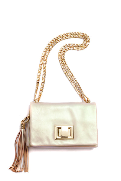 Little Box of Joy, metallic pink bag, by Riina Põldroos
