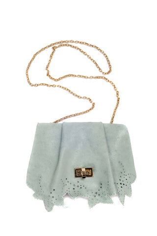 Little blue suede bag by Riina Põldroos