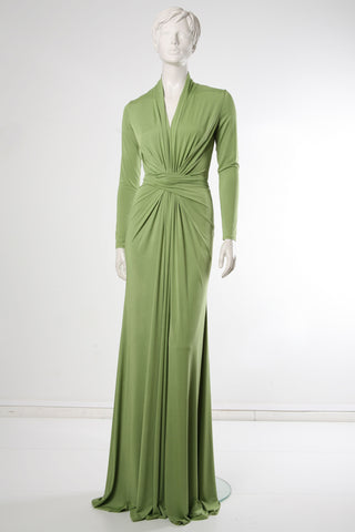 Spring Green Crisscross Maxi Dress by Riina Põldroos
