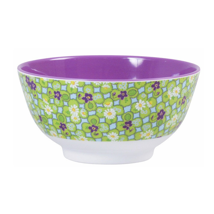 Melamine Bowl Two Tone with Clover Print by Rice Dk