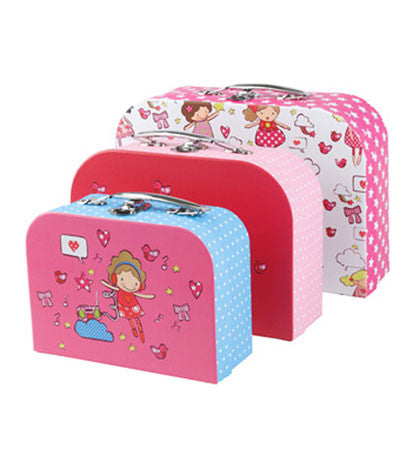 Set of 3 Pink Dolls Suitcases | Animi