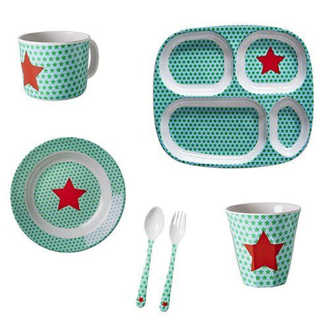 Copy of Rice DK | Kids Bamboo Melamine Spoon and Fork with Boys Race Print