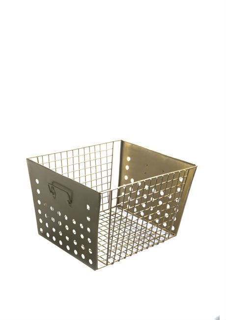 Madame Stoltz | Gold Square Basket with Handles