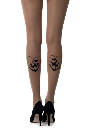 Zohara Sheer Tights Skull Print