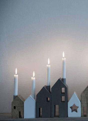 Madame Stoltz | Grey House Shaped Wooden Candle Holder