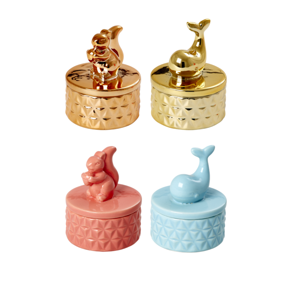 Rice DK | Tiny Porcelain Animal Lid Jewelry Box