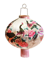 Kitsch Kitchen | Round Cream Peacock Lantern