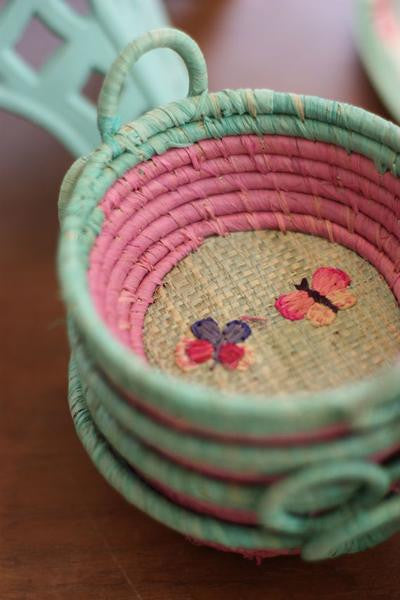 Rice DK | Round Raffia Mini Basket with Butterfly Embroidery