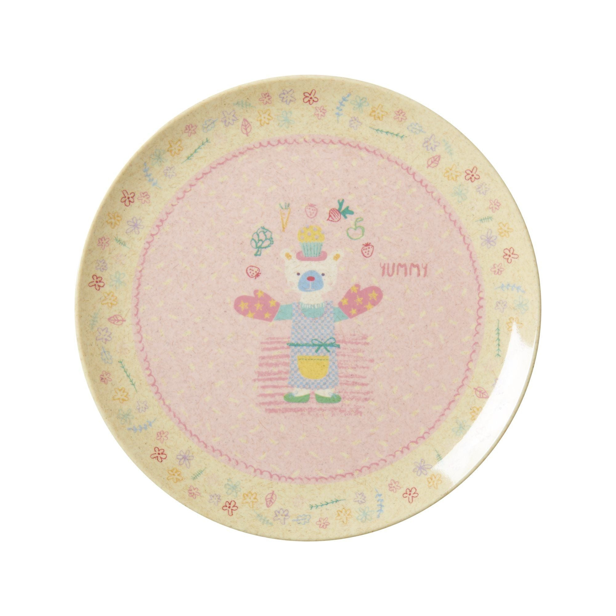Rice Dk | Kids Bamboo Melamine Lunch Plate with Girls Cooking Print