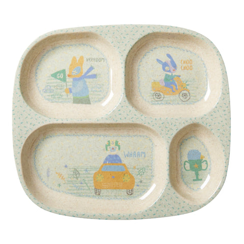 Rice DK | Kids 4 Room Bamboo Melamine Plate with Boys Race Print